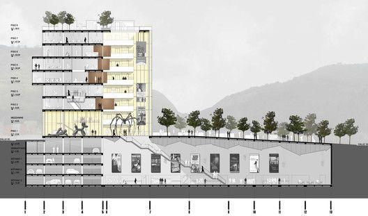 Mención Honrosa en Concurso público del diseño de nueva cinemateca distrital de Bogotá / Colombia,Corte/Sección A-A
