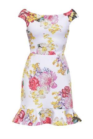 Vestido Curto Decote Babados Estampa Mix Floral…