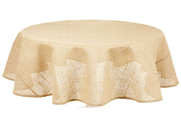 Round Burlap Tablecloth on OneKingsLane.com. Imagining this draped over a tarnished industrial-style metal table. Or a rustic wood.
