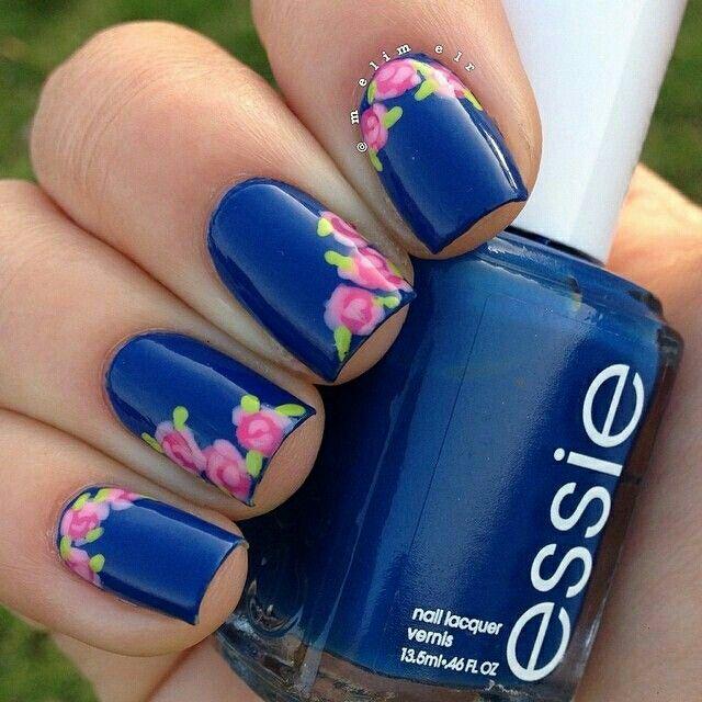 Blue rose nailart #blue #rose #nailart #nails