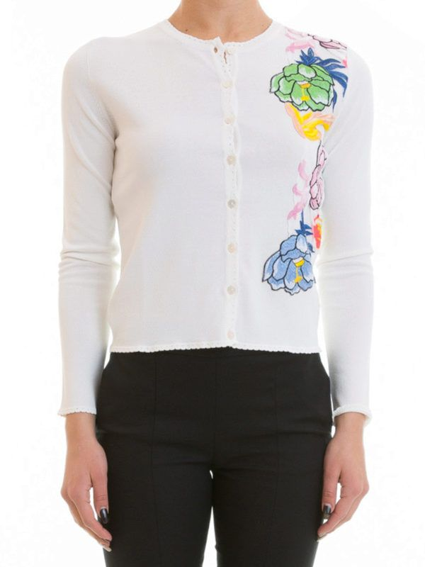 Blumarine: cardigans online - Cardigan with floral patches