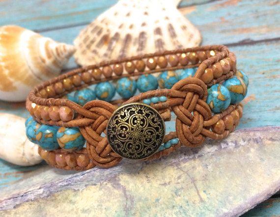 Beaded Leather Cuff, Original Design, Josephine Knot Bracelet, Turquoise Bracelet, Beach Jewelry, Knotted Cuff, Beaded Cuff, Beach Bracelet