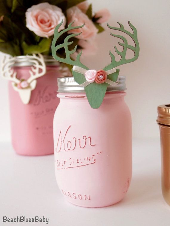 1 Painted Mason Jar / Baby Shower Decor / Centerpiece / Vase / Party Decor / Pint jar / rustic baby shower / rustic home decor / shabby chic