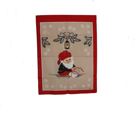 Lovely vintage retro Christmas 60s Parade Kitchen Towel with