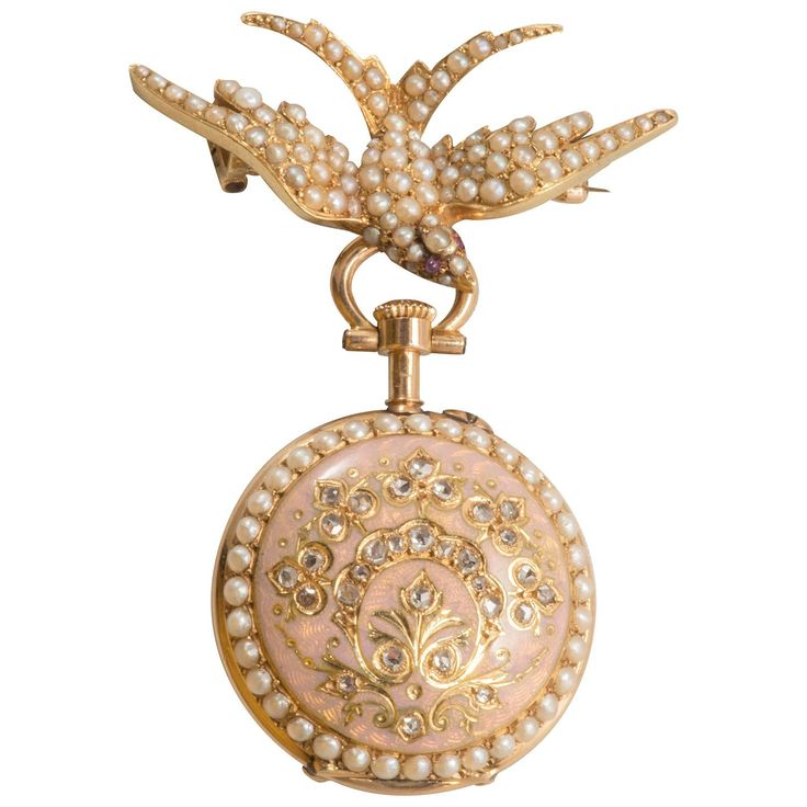 Russian lady's enamel natural pearl gold Pendant Watch | From a unique collection of vintage brooches at https://www.1stdibs.com/jewelry/brooches/brooches/