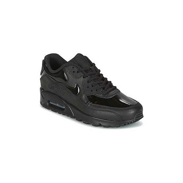 Nike AIR MAX 90 LEATHER W Shoes (Trainers) (£128) ❤ liked on Polyvore featuring shoes, sneakers, black, trainers, women, leather sneakers, black leather trainers, kohl shoes, nike trainers and leather trainers