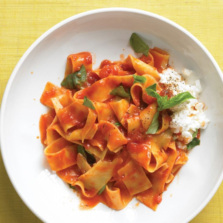 For the fastest pasta, cut to the chase: Cook pappardelle in the tomato sauce. Finish with ricotta and basil.