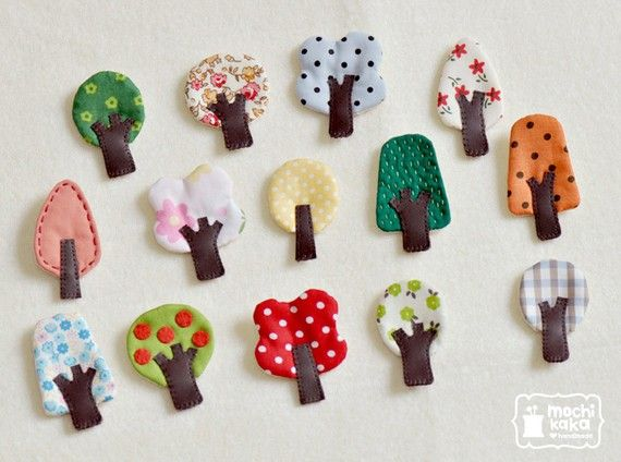 The set of 3 little tree brooches by mochikaka on Etsy, $18.00