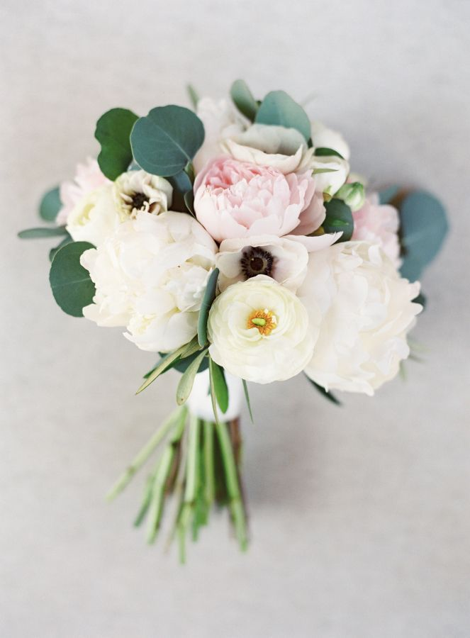 Peony, ranunculus and anemone wedding bouquet: http://www.stylemepretty.com/2016/10/19/modern-atlanta-restaurant-wedding/ Photography: Sawyer Baird - http://www.sawyerbaird.com/