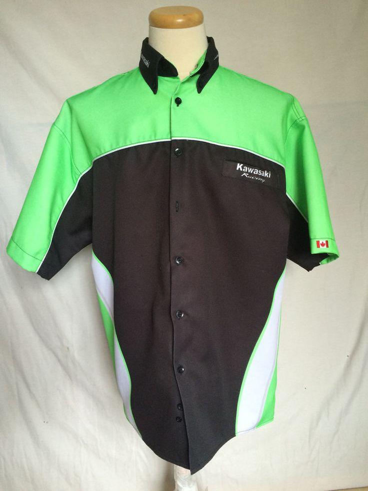Kawasaki Racing Button-Down Shirt Sz XL Black Green White Short Sleeves #Kawasaki #Buttondown