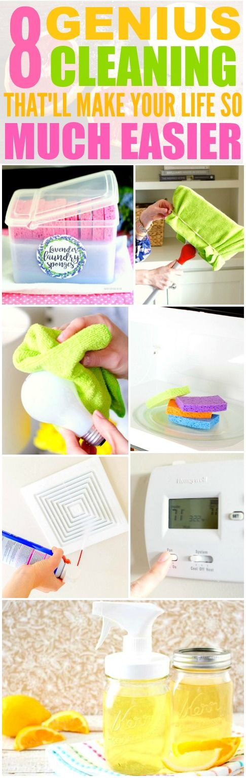 These 8 Genius Cleaning Hacks and Tips are THE BEST! I'm so glad I found these GREAT ideas! Now my home will be super neat and clean with these tips and tricks! Definitely pinning!