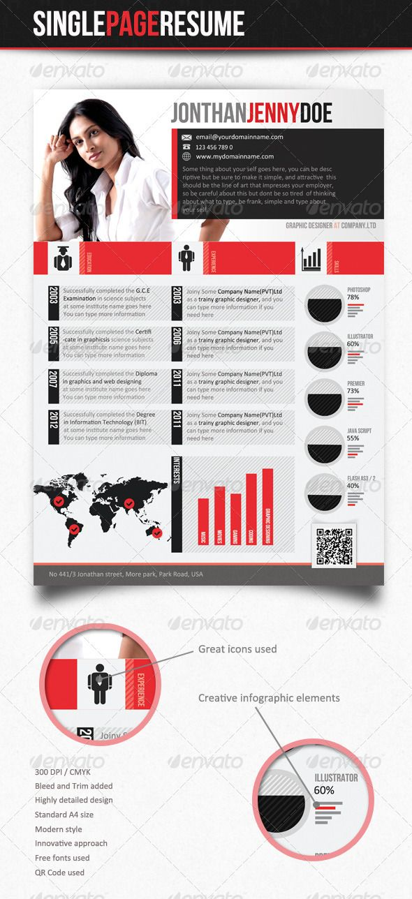 54 best CV images on Pinterest Resume, Resume cv and Resume design - single page resume