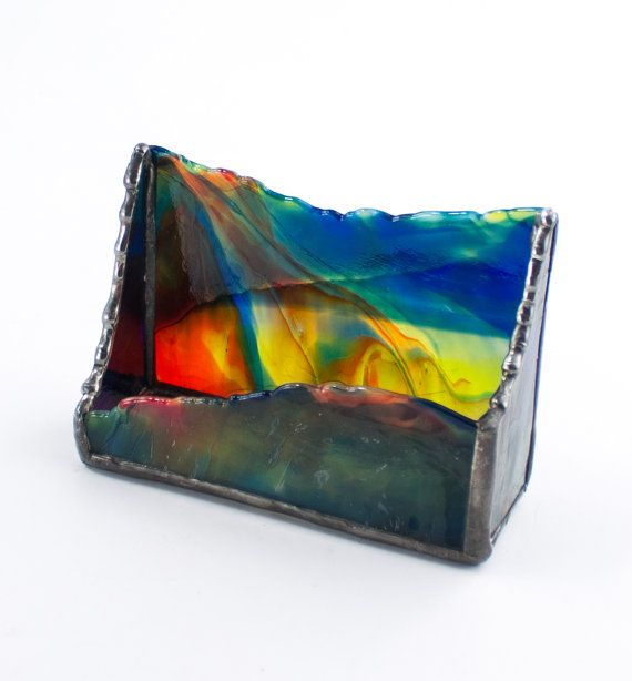 Colorful Stained Glass Business Card Holder By Nostalgianmore Etsy Rainbow Foltbolt