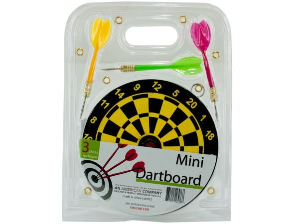 """Mini Dartboard Set, 36 - Provide hours of fun while honing hand-eye coordination skills with this Mini Dartboard Set. Set includes 1 mini dart board and 3 metal-tip darts. Instructions and rules are included in package. Dart board measures approximately 5.5"""" in diameter with 4.25"""" long darts. Comes packaged in a clam shell.-Colors: black,yellow,green,red,gold. Material: metal,plastic,cardboard. Weight: 0.4104/unit"""