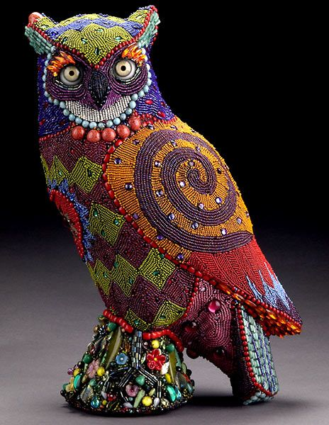 Betsy Youngquist Rockford IL animal sculptural mosaics glass eyes beads myth mosaic