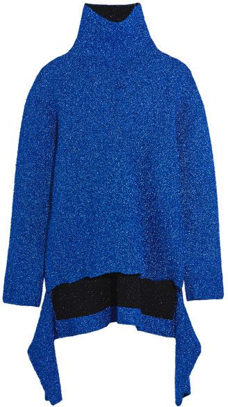 Balenciaga - Draped Knitted Lamé Turtleneck Sweater - Blue