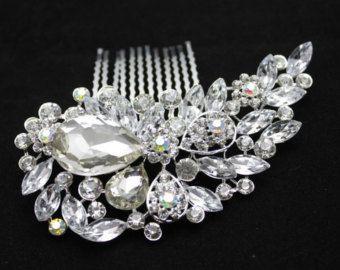 Stunning* Vintage Bridal handmade wedding diamante jewel crystal hair comb slide clip fascinator bride.bridesmaids *parties*proms*evening*