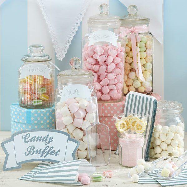 Candy Bar Set für ein leckeres Hochzeitsbuffet in Silber-Weiß/ Süßigkeiten Buffet zur Hochzeit inklusive Schäufelchen, Schildern, Candy Bags