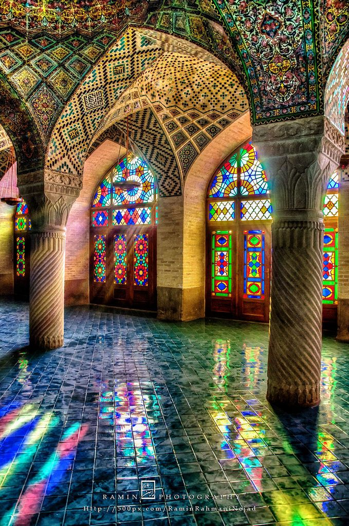 The use of Stained glass is common in the interior design of Iranian architecture and also in Churches and Synagogues. Nasir-ol-Molk Mosque