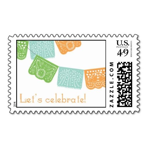 Papel Picado Stamp. This is customizable to put a personal touch on your mail. Add your photos or text to design your own stamp that can be sent through standard U.S. Mail. Just click the image to try it out!