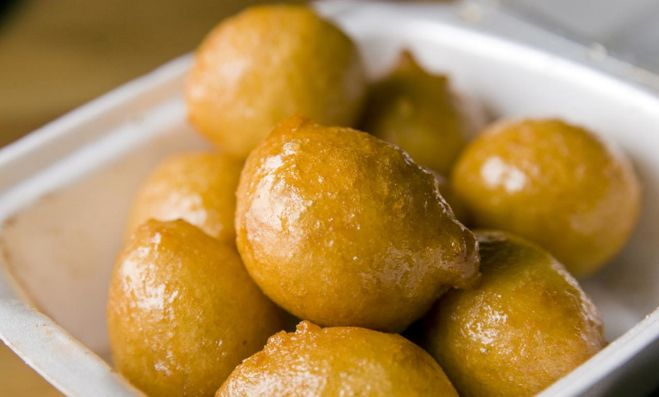 The ancient (Greek) recipe: Fried Pancakes with Honey and Sesame Seeds Similar to loukoumades (shown)