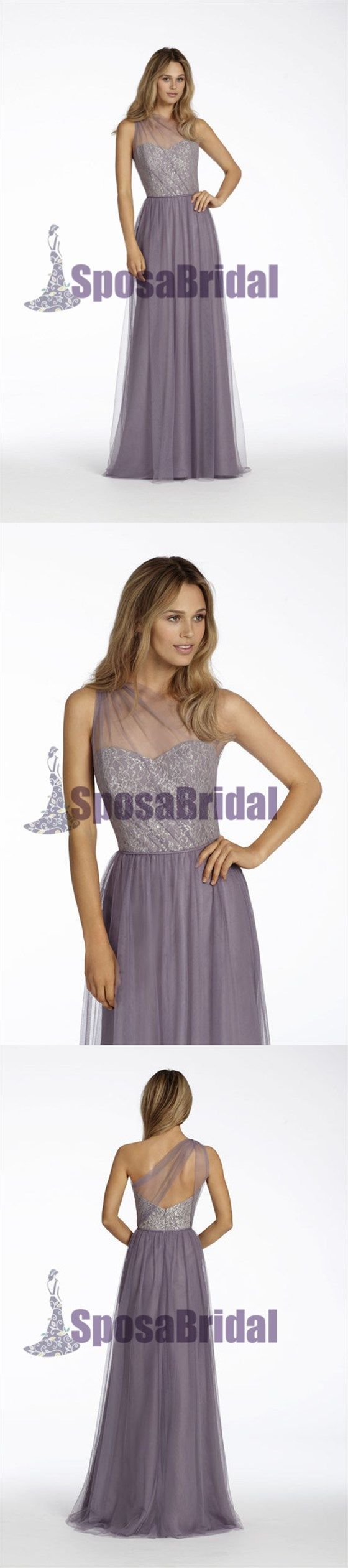 Lilac One Shoulder Unique Design Tulle Bridesmaid Dresses, Most Popular Bridesmaid Dress, PD0488 #bridesmaiddresses#sposabridal