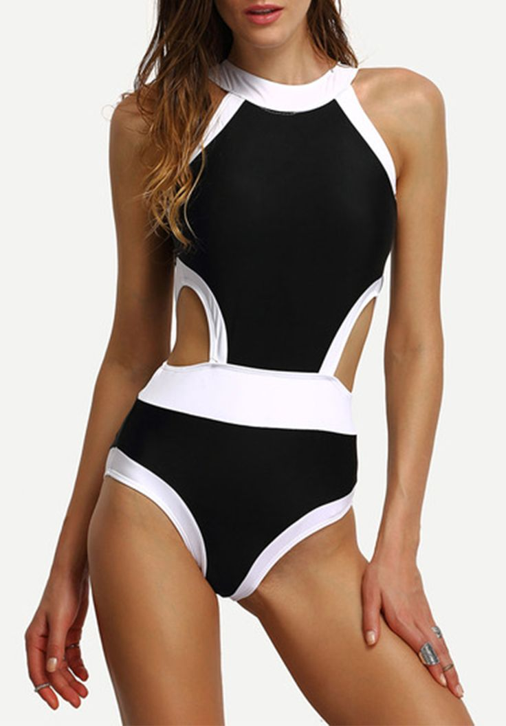 Contrast High Neck Cutout One-Piece Swimwear. Color block black & white bathing suit from shein,com. Find more pretty sporty swimsuit set here.