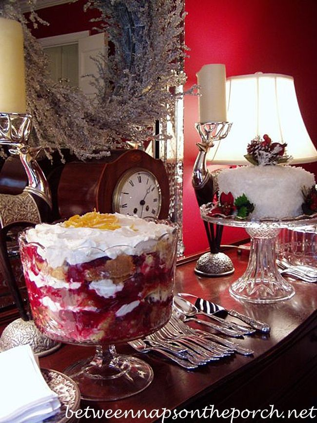 Cranberry Trifle ~ Great for a Christmas Dessert | http://betweennapsontheporch.net/