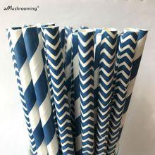 (25 pièces/lot) marine Bleu Pailles de Papier Chevron Damassé Bande-Marine Pailles-Marine Bleu Gâteau Pop Bâtons-Potable Pailles(China (Mainland))
