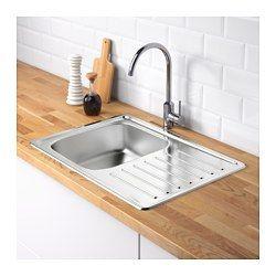 IKEA - FYNDIG, Évier enc 1 bac avec égouttoir, Évier en acier inoxydable, un matériau hygiénique, solide, résistant et facile d'entretien.L'évier peut être installé égouttoir à gauche ou à droite.Le trou pour l'installation du robinet n'est pas préperforé, vous laissant le choix de l'emplacement. $55