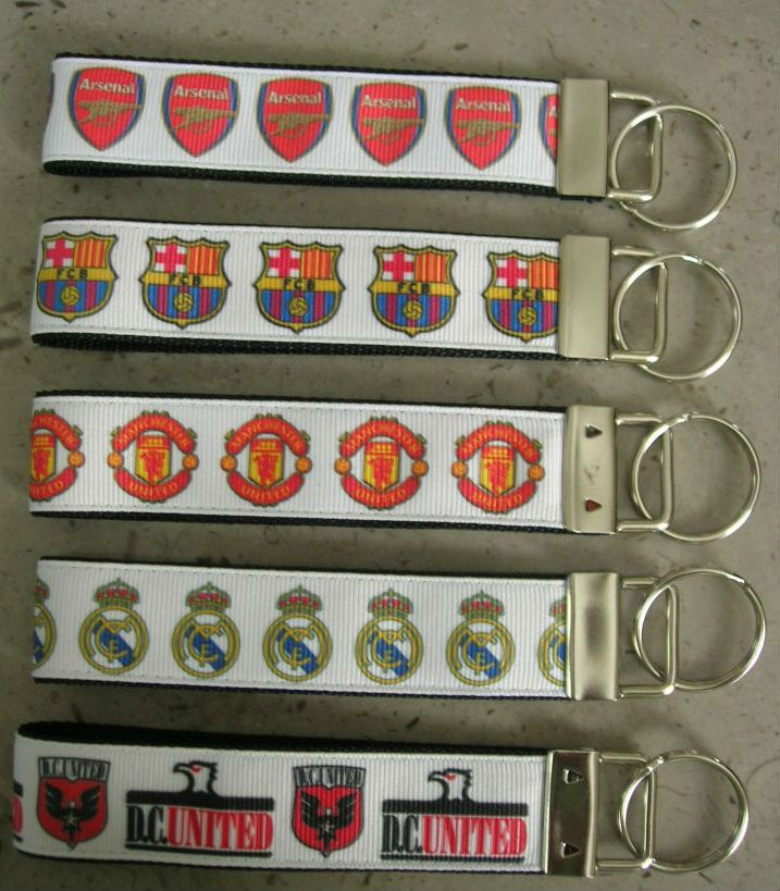 International Soccer Teams: Arsenal, Barcelona, Manchester, Real Madrid etc.  MORE AVAILABLE see LIST Soccer Key fob wristlet keychain by Sewwho on Etsy