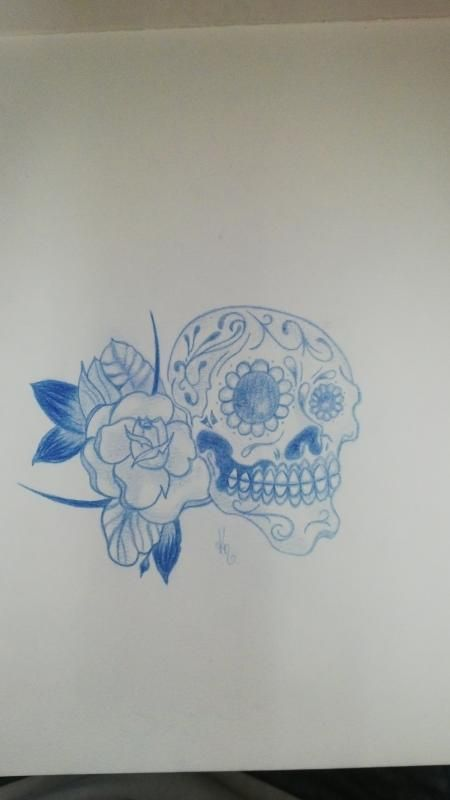 Skull with a rose drawing. Artist: Kegan Neuper.  Style Ink Tattoos
