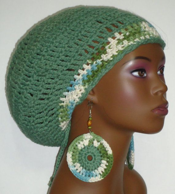 CLEARANCE Sage Green Cotton Crochet Rasta Tam with by razondalee