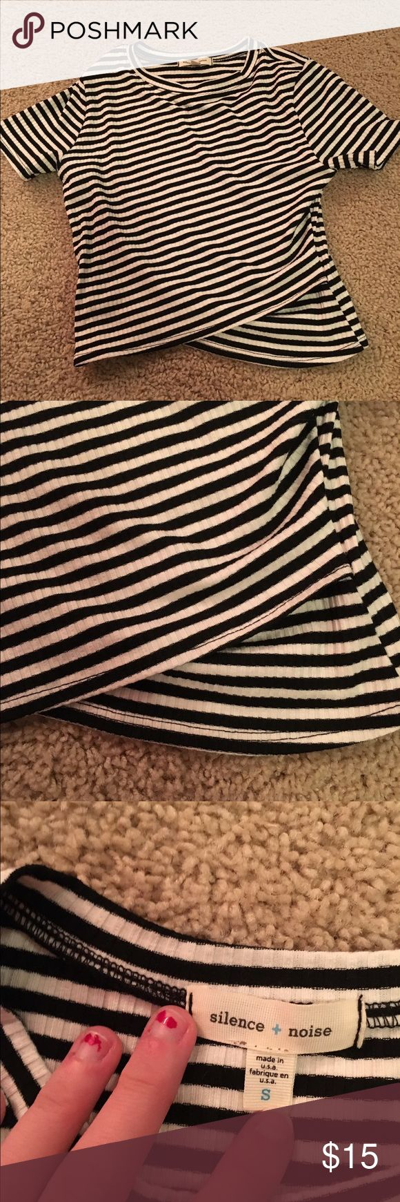 Stripped black and white crop top short sleeve Stripped black and white crop top short sleeve never worn Urban Outfitters Tops Crop Tops