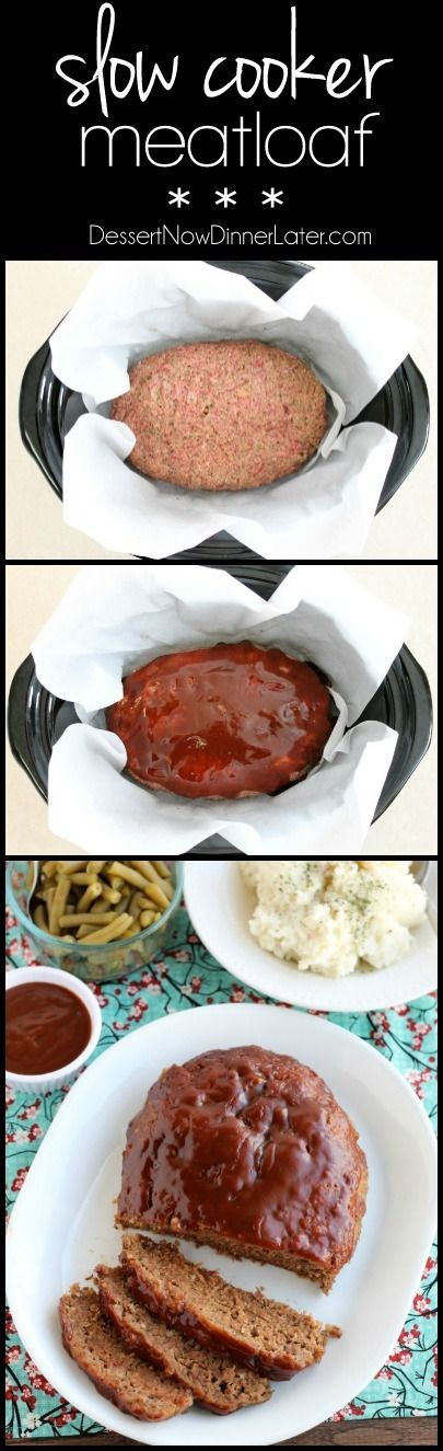 This Slow Cooker Meatloaf has a delicious savory-sweet brown sugar and balsamic glaze on top, and is cooked on a sheet of parchment paper that easily lifts the meatloaf out of the slow cooker when it's done cooking. On MyRecipeMagic.com