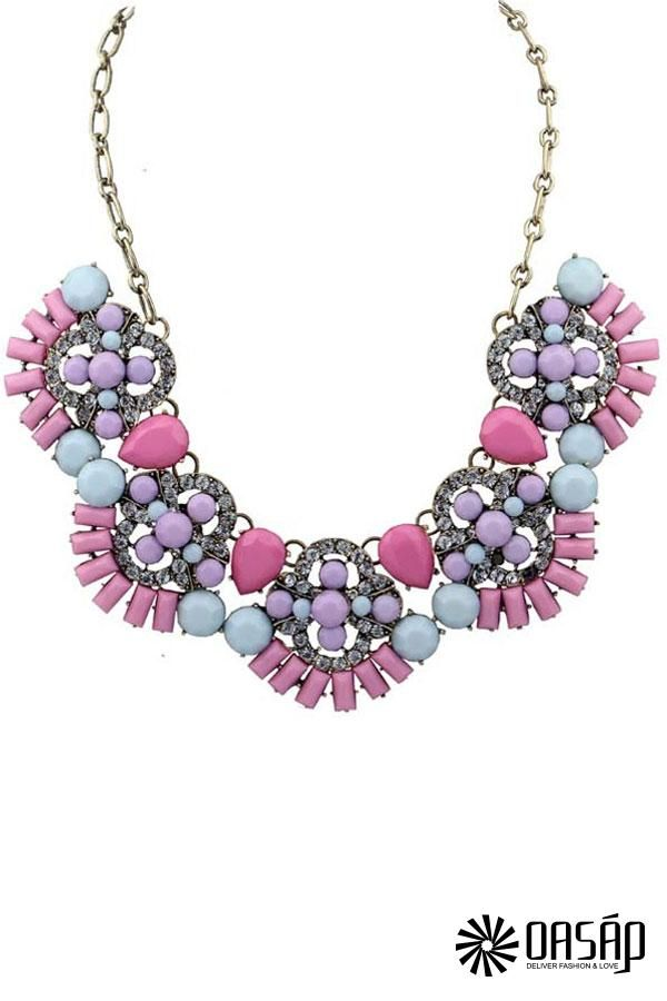 The bib necklace featuring bar and teardrop pattern. Univibe effect. Faux stone. Rolo chain. Adjustable clasp. Polished finish. #faux #distinctive #multicolor #necklace #fauxstonenecklace #Necklaces #stone
