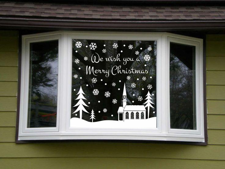 Outdoor Christmas Snowy Snow Scene Vinyl Lettering Window Kit Choice 3 Designs Decoration