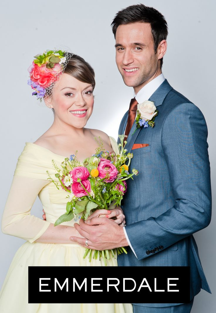 ITV Emmerdale's 'Genni' wearing a couture Anita Massarella wedding gown, in pure silk chiffon over pure silk zibeline.