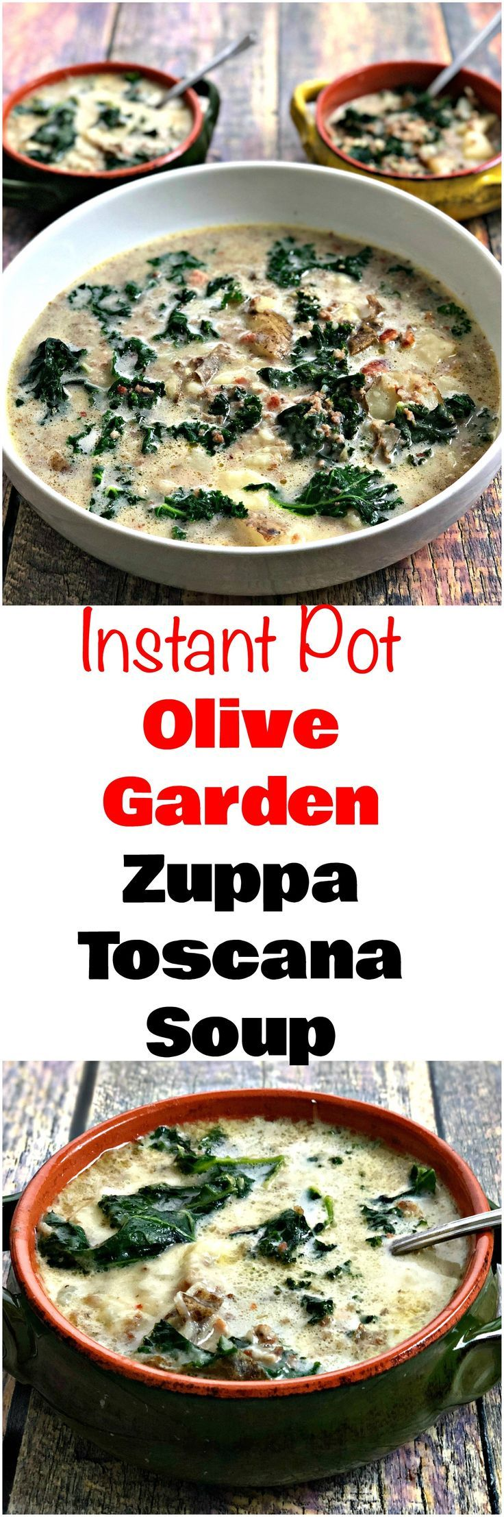 Instant Pot or Slow-Cooker Olive Garden Zuppa Toscana Soup is a quick and easy copycat, pressure cooker recipe with sausage, kale, and creamy broth. This makes the perfect meal for weeknight dinners, freezer meals, and advance meal prep. #MealPrep #InstantPot #InstantPotRecipes #OliveGarden #PressureCooker #PressureCookerRecipes #Soup