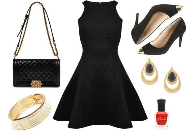 Great outfit for a night out or a cocktail party - Little black dress paired with white and gold  jewelry. More on the blog.