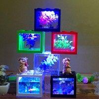 Wish   Colorful Clear Mini Fish Tank Aquarium LED Light Office Desktop Ornament Decor