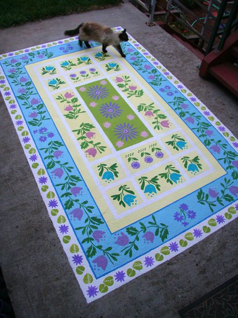 DIY tutorial using Stencils to paint concrete rug