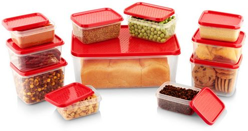 All Time Polka 11 Pieces Red Colored Plastic Container Set @ Rs.175