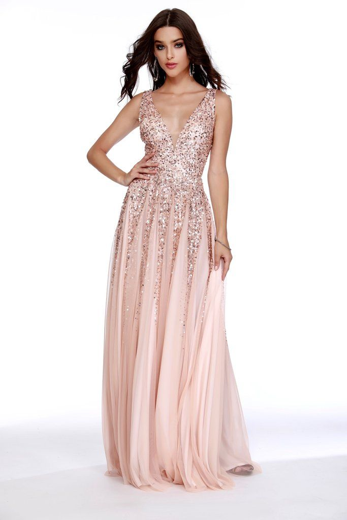 7accc92816e Low V-Neck Fit to Flare Sequin Rose Prom Dress 12207 in 2019 ...