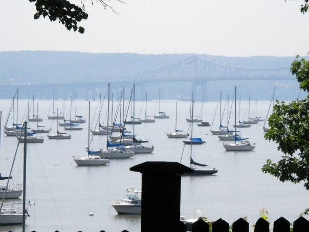 Nyack,New York. Sailboats, the Hudson River, and the Tappan Zee Bridge in the background.