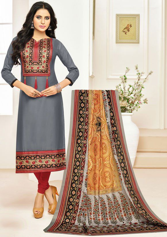 5cca7caee9 Smoke Grey Cotton Suit with Digital Print Dupatta | Casual Salwar ...