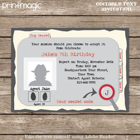75 best images about Birthday party spy – Secret Agent Party Invitations