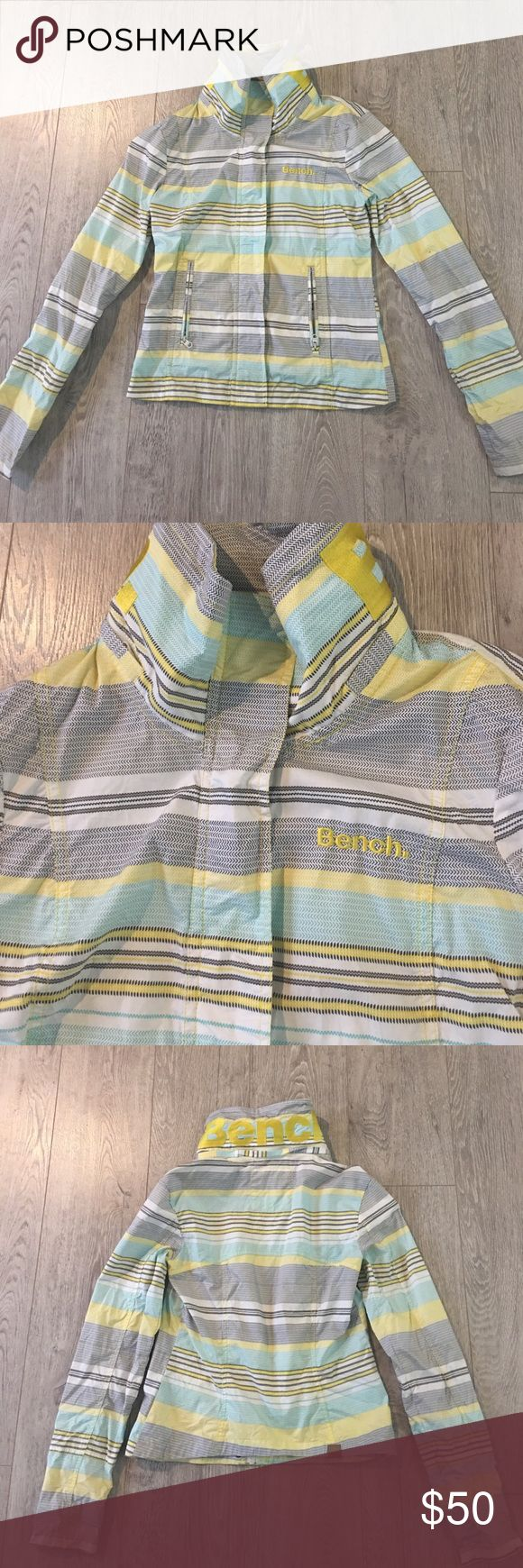 Bench jacket Yellow/mint/gray/white multi colored Bench jacket. Says bench on front and back collar. Optional hood that rolls up into the collar. Super condition. Size small. Bench Jackets & Coats