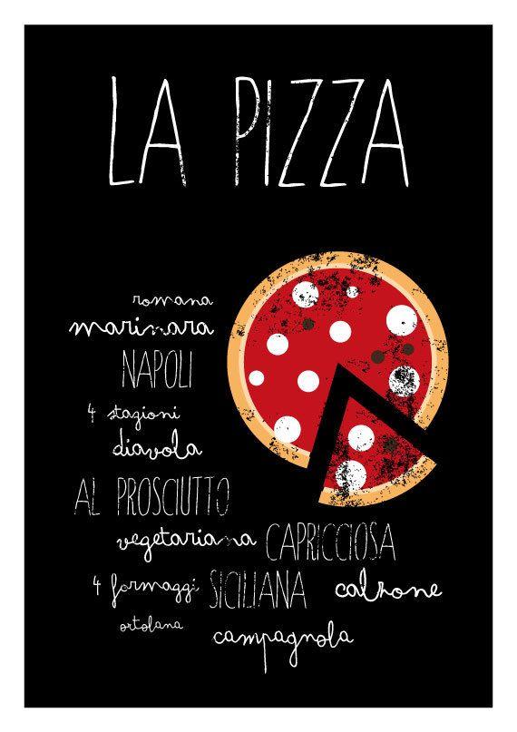La Pizza - Kitchen art print - italian food poster - letterpress recipe…