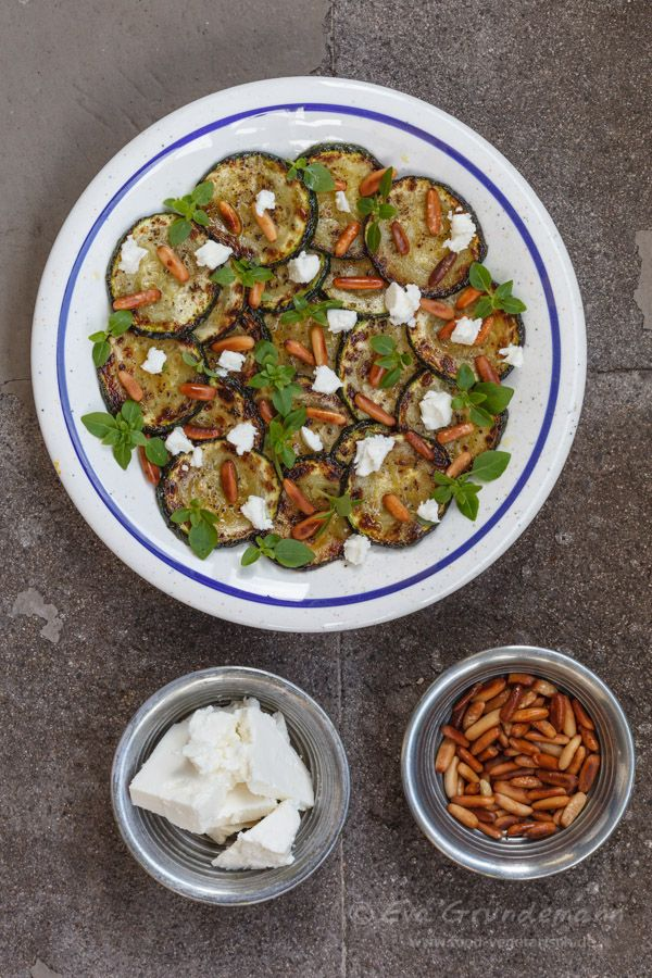Zucchini Salad with Feta Cheese and Pine Nuts | Recipe via food-vegetarisch.de